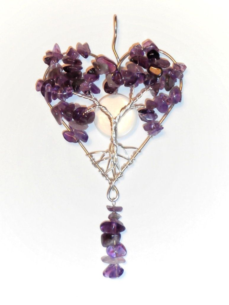 Amethyst wire wrap Tree of Life Heart shaped pendant by ksuecsr on DeviantArt.