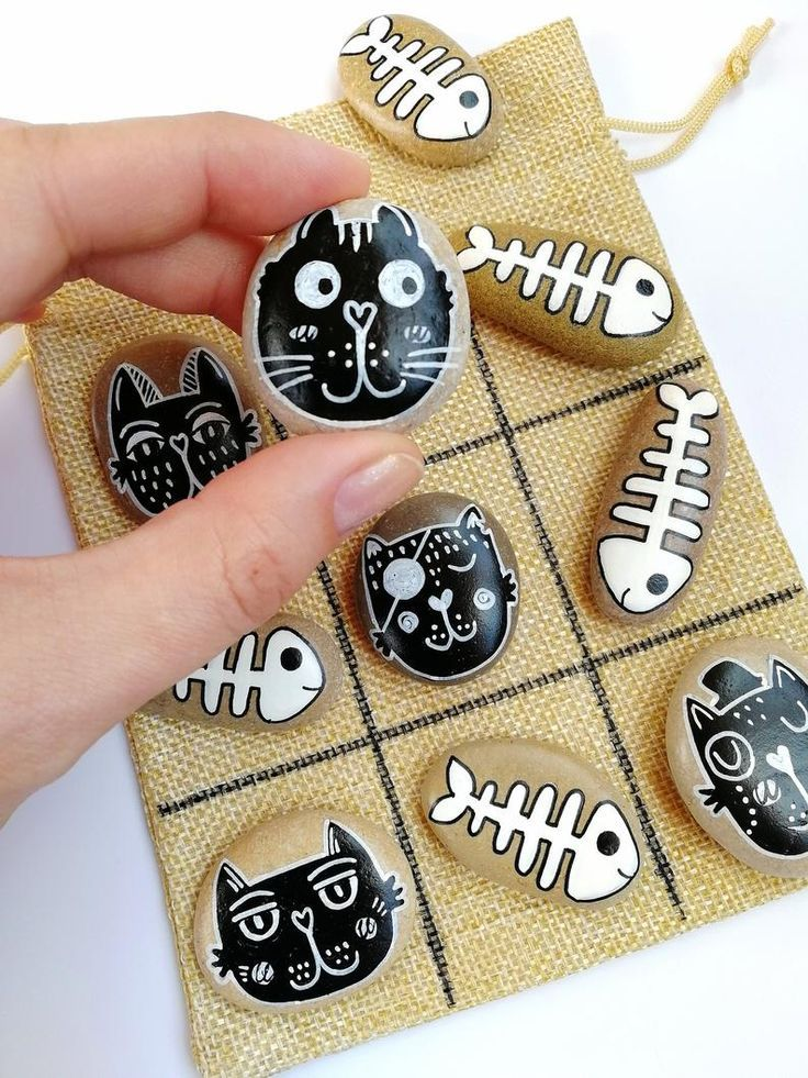 Tic tac toe game with black cats and white fish skeletons, Hand painted sea stones, Natural beauty