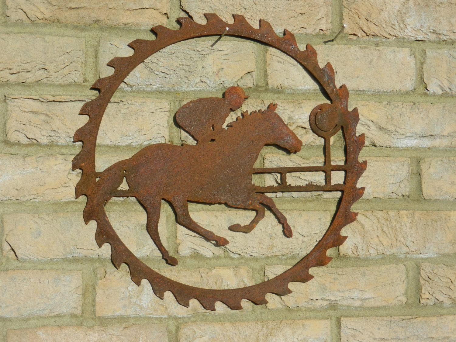 Horse Racing Circular Saw Blade Art / Rusty Metal Art / Garden Decor / Horse  Racing Gift / Horse Rider / Horse Wall Hanging / Flat Racing