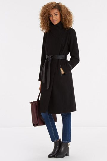Bea Faux Leather Detail Long Coat