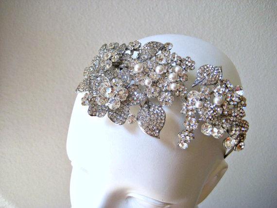 Bridal vintage swarovski crystal & pearl jewel wedding ...