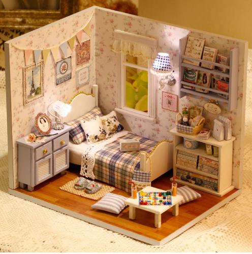 Diy Toy Blue Room Miniature Dollhouse With Dust Cover Dollhouse