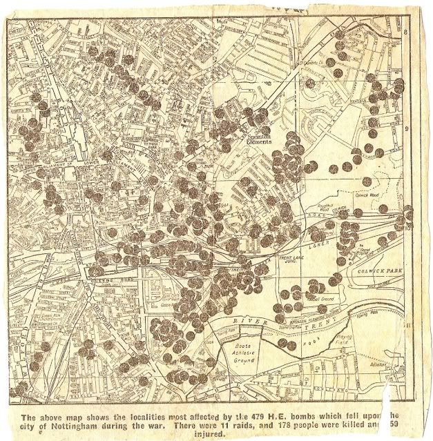 Map of locations of bombing in Nottingham during the Second World