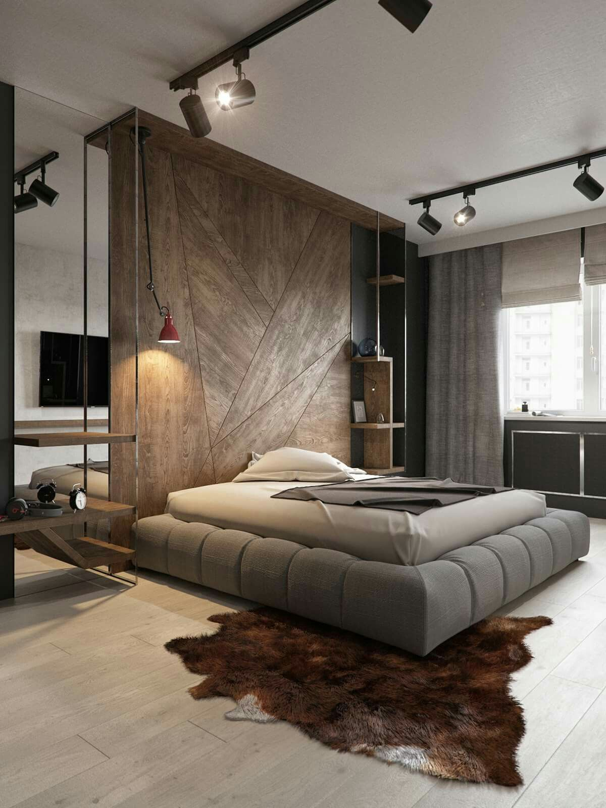 Master Bedroom Interior Design: The Headboard Or Room Partition In This Loft Is Quite