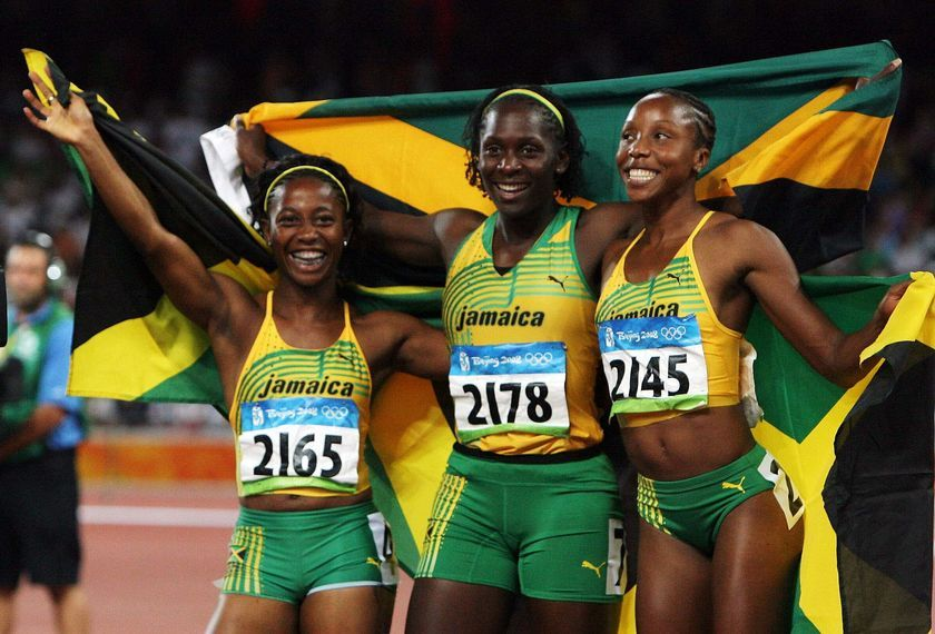 Jamaican triple treat in women's 100m | Jamaican runners, Female athletes,  Jamaicans
