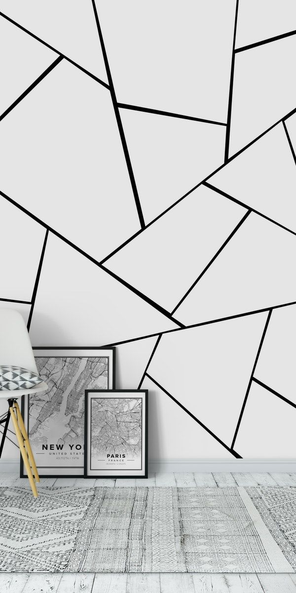 Black White Geometric Glam 1 Wall Mural From Happywall Interiordesign Scandinavianpattern Abstractlin Bedroom Wall Paint Wall Murals Diy Wall Paint Patterns