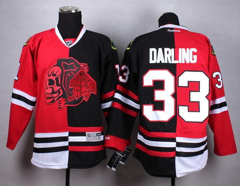 NHL Chicago Blackhawks #33 Darling Half and Half Split Jersey. Chicago  BlackhawksEishockeyJeansSchädelRot Schwarz