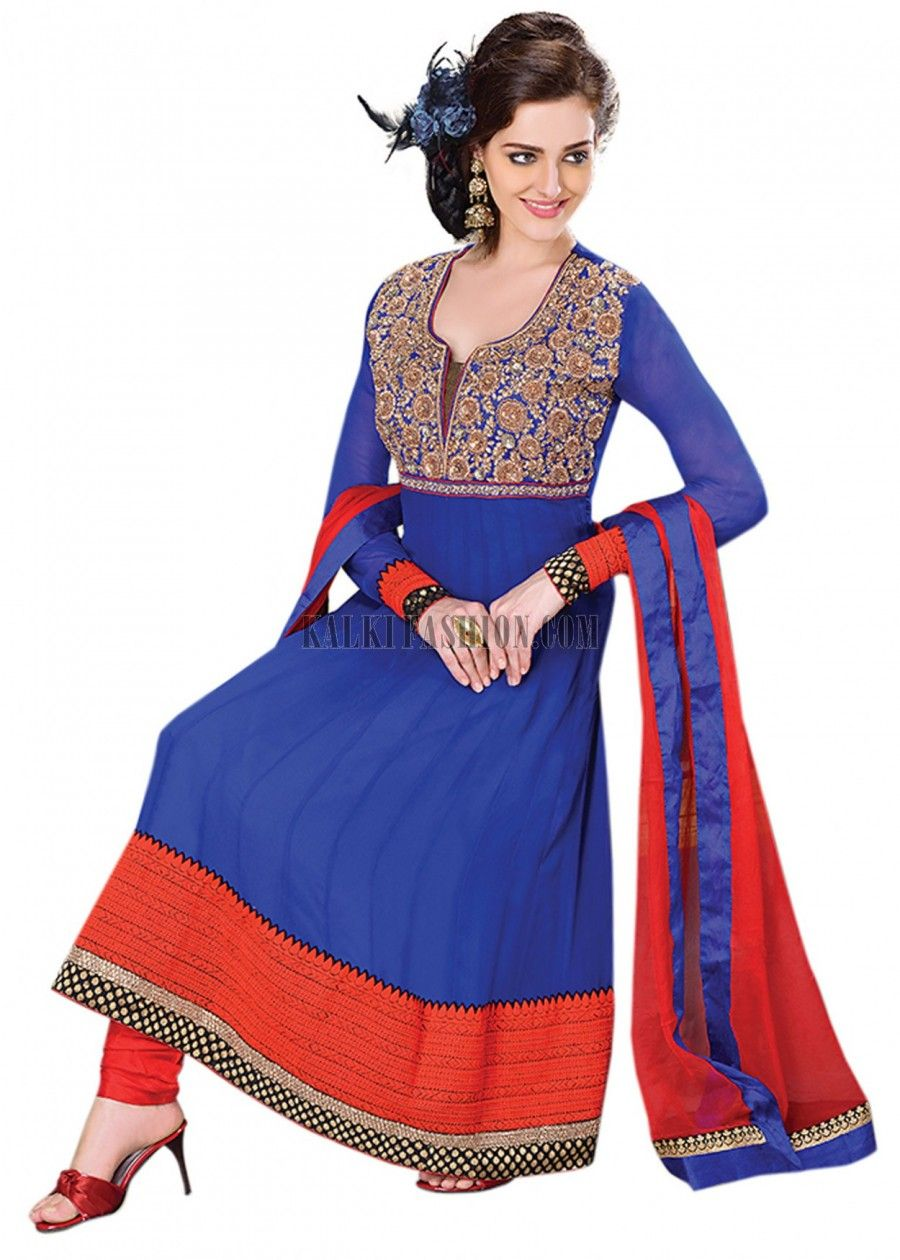JAG FOX Blue Anarkali suit in anarkali pattern .It has sequence and thread embroidery on its yoke.Its churidar is in red taffeta and dupatta is in red chiffon.Please email us your height and measurements and we will suggest the proper length for your height.95% of our customers believe that the product is as shown on the website.More DetailColor - BlueShipping Time (Days) - 7Size - FreeThis Product is - Ready to ship [Rs25,050.00]