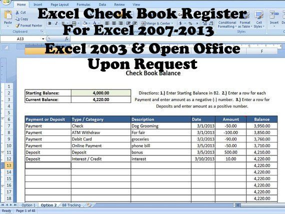 Excel Check Book Register, Help with Balancing Checkbook