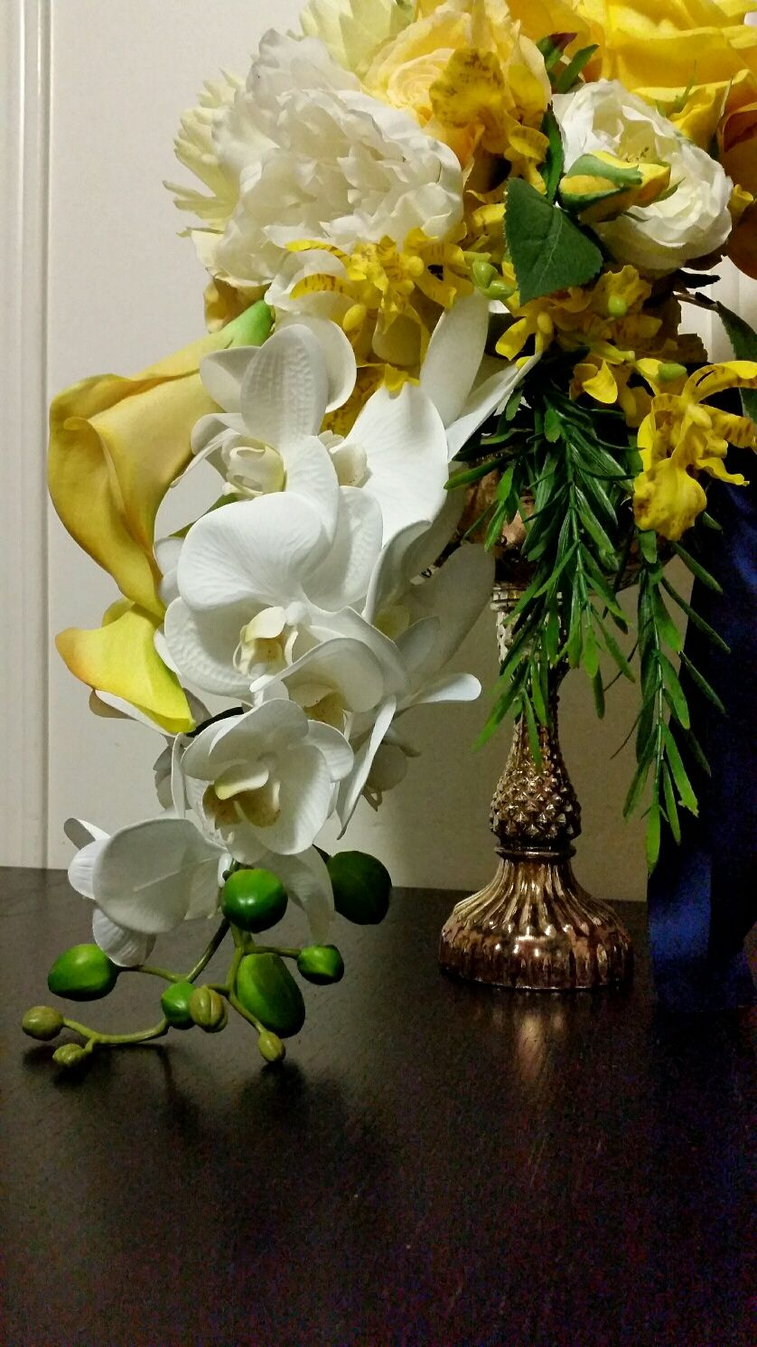 Calla orchid and peony centerpiece design by davis floral