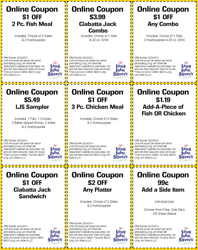 graphic about Long John Silver's Printable Coupons named Extensive John Silvers: 9 Printable Discount codes Coupon codes and Promotions