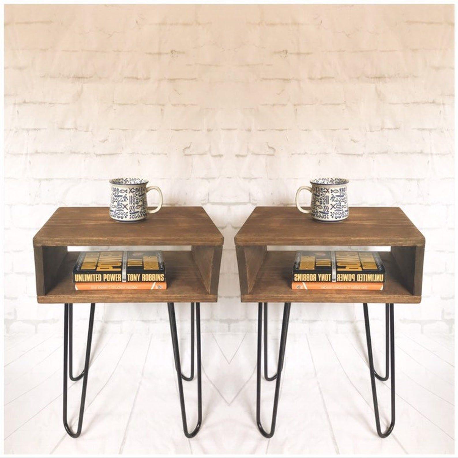 Handmade Mid Century Nightstand Pair Rustic Wood Bed Side End