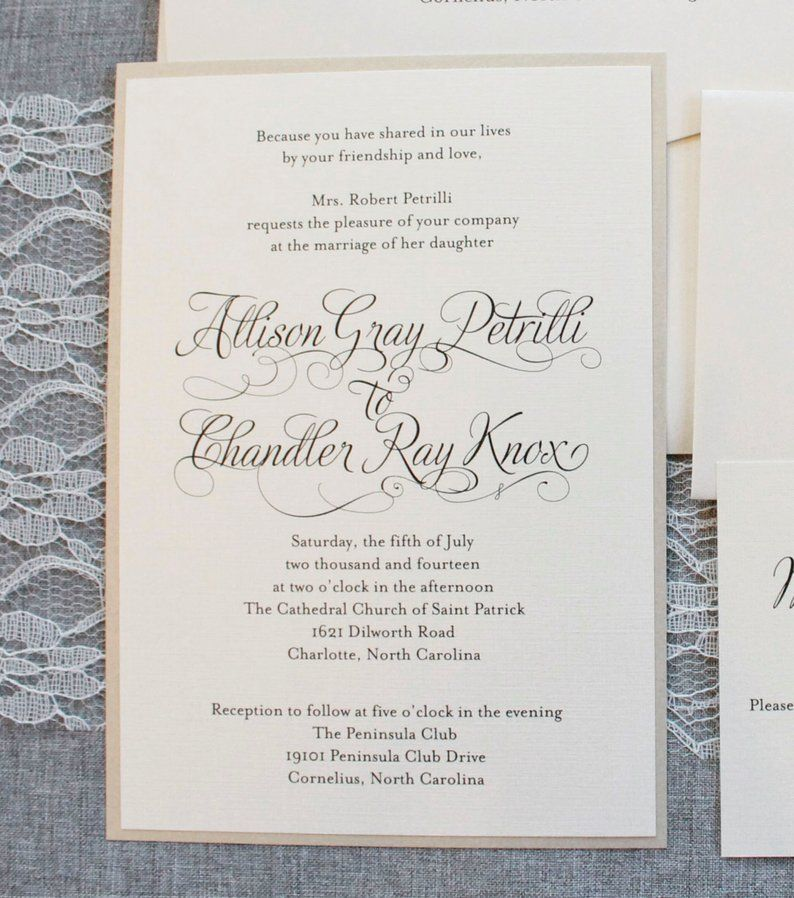 Ivory Wedding Invitations Gold Formal Wedding Ceremony Etsy In 2020 Ivory Wedding Invitations Wedding Ceremony Invitations Wedding Invitations Romantic