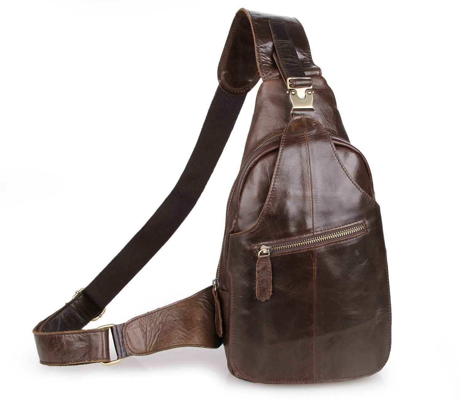 2479e553a777 Yilen Casual Daypack Top Grain Cow Leather Sling Shoulder Backpack ...
