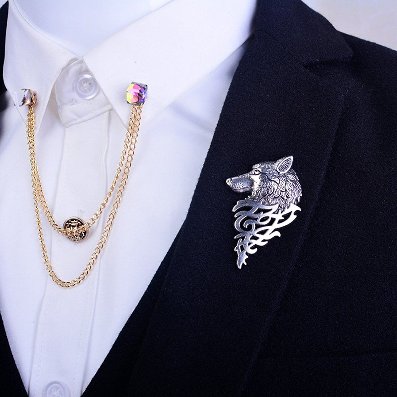 Fashion Alloy Brooch Wolf Retro Punk Collar Lapel Suit Pin Men Party Decoration