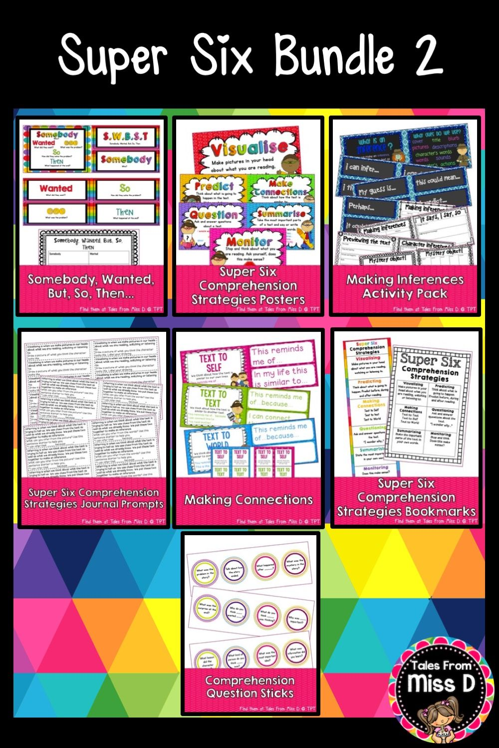 This Super Six Comprehension Bundle Provides You With 7 Resources For Strategies 1 Somebody Wanted But So Then 2