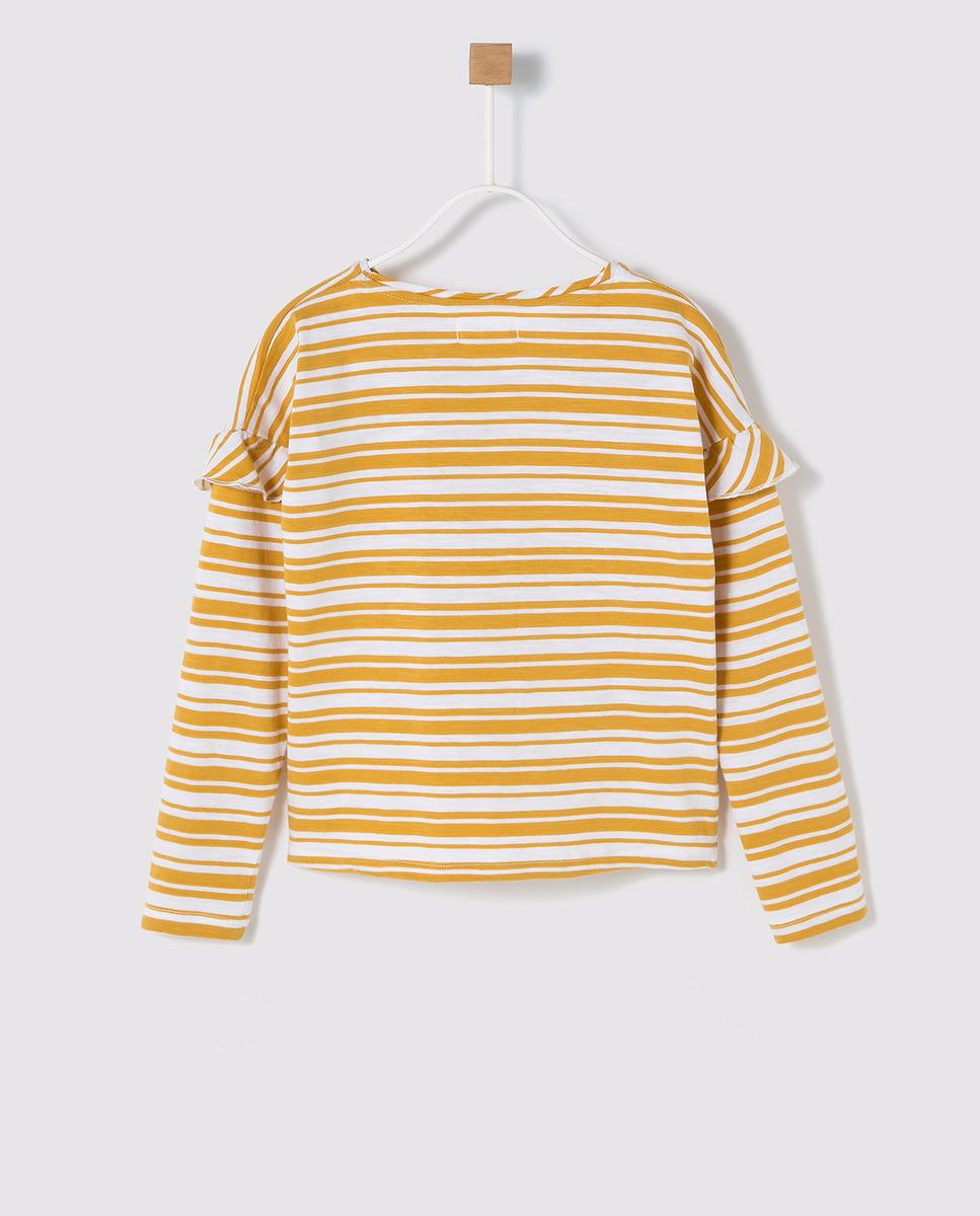 7f9139e1e Camiseta de niña Brotes con estampado de rayas y volantes | MY WORK ...