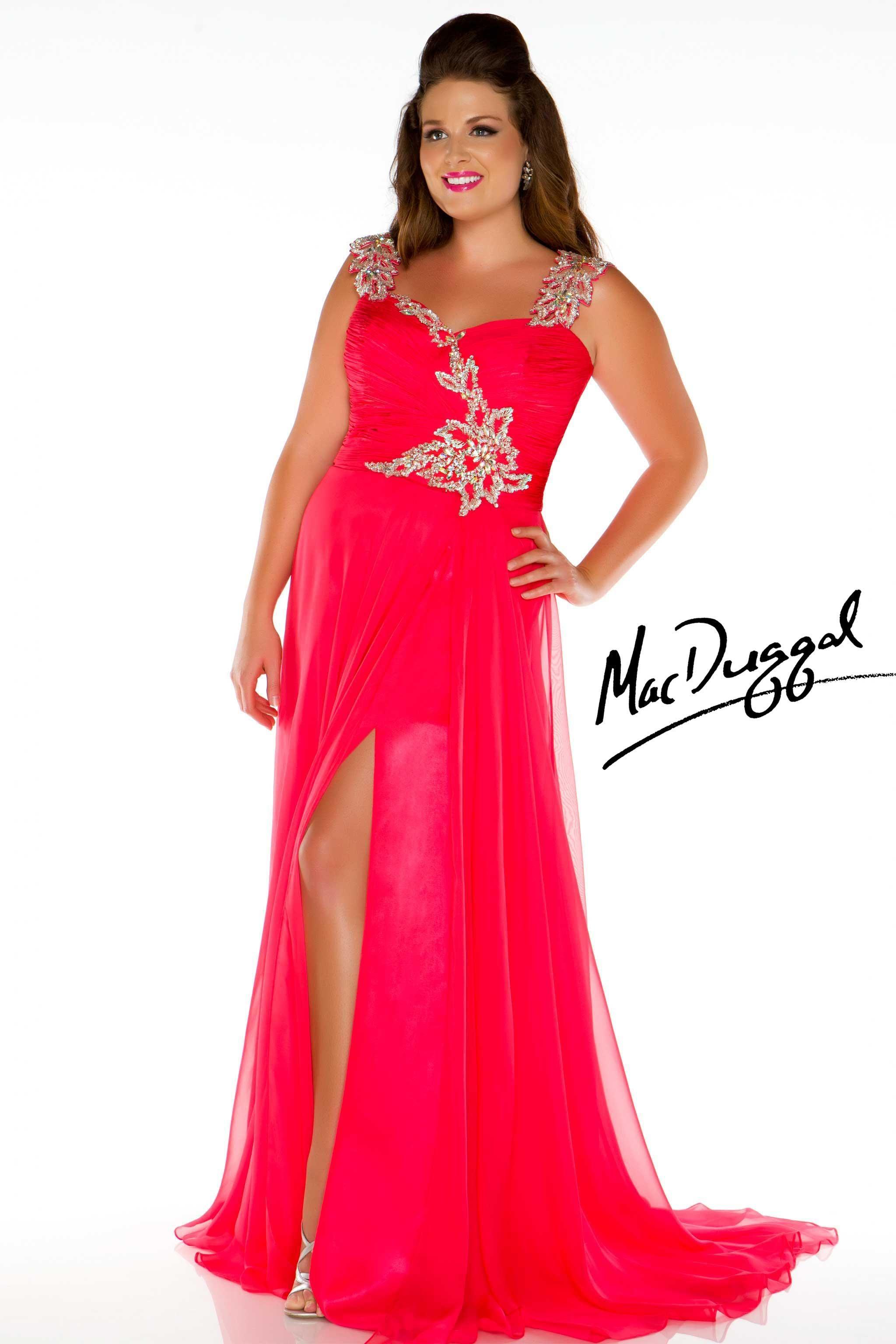 Cherry Red Plus Size Prom Dress Mac Duggal 64400k Prom 3