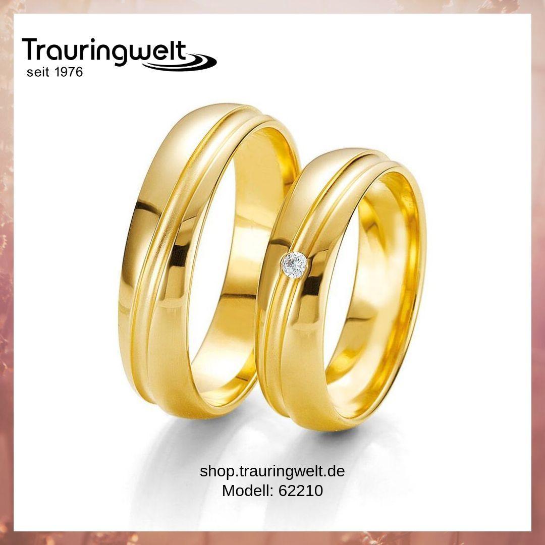 Klassische Eheringe / Trauringe Gelbgold und Diamantbesatz 660,-€