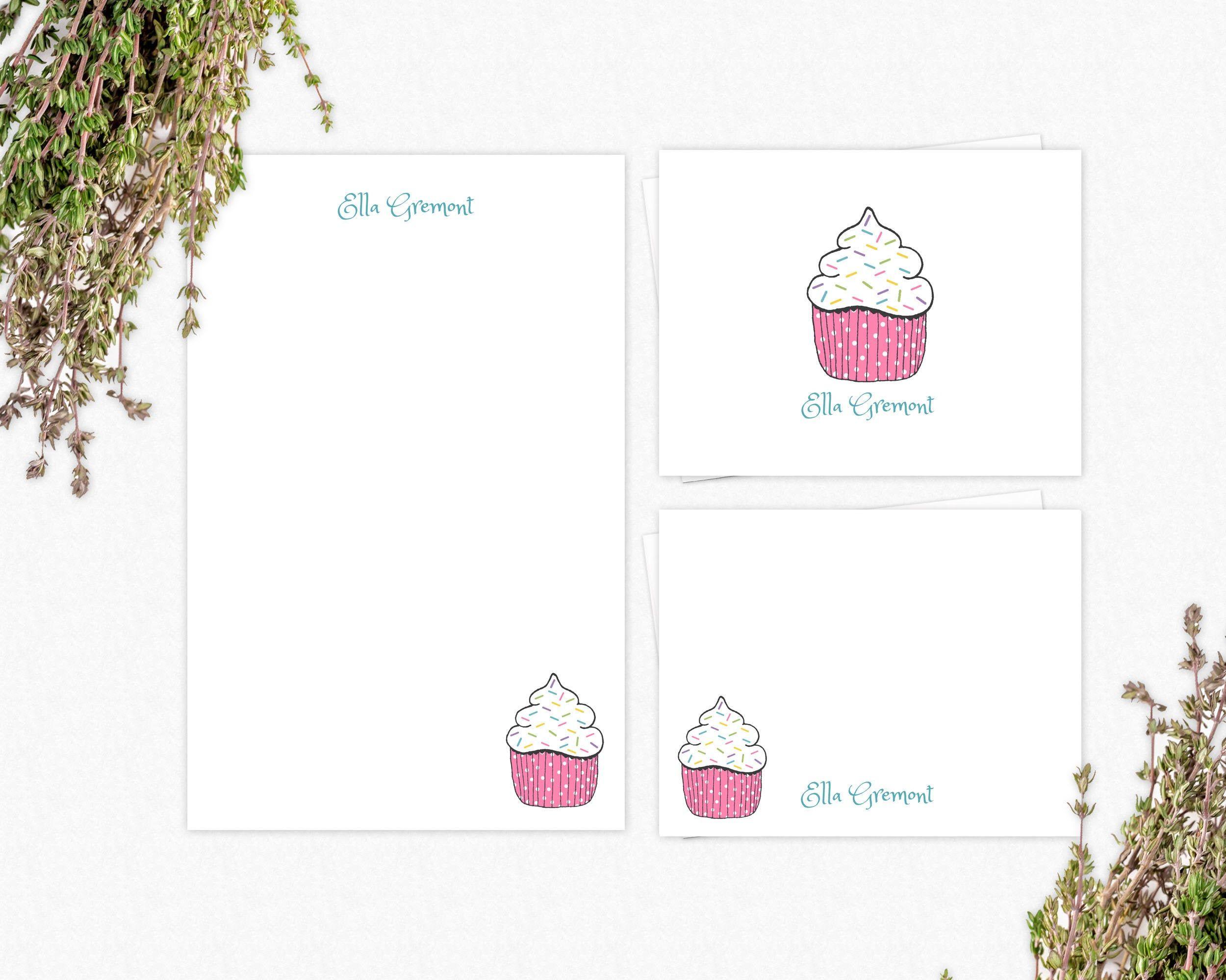 Cupcake Flat Notes Cupcake Flat Note Cards Birthday Thank You Cards Cupcake Thank You Cards- Illustrated Cupcake Note Cards
