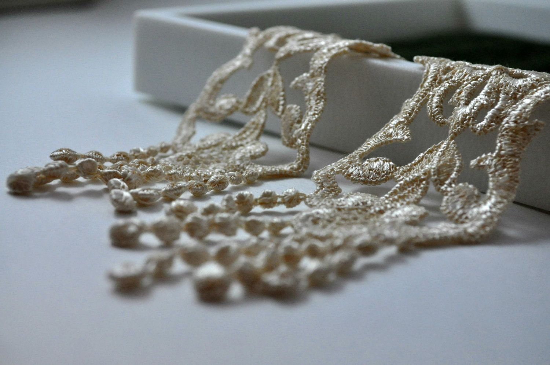Earrings, Off-White, Nude Blush Lace earrings, Long - Kitty. $20.00, via Etsy.