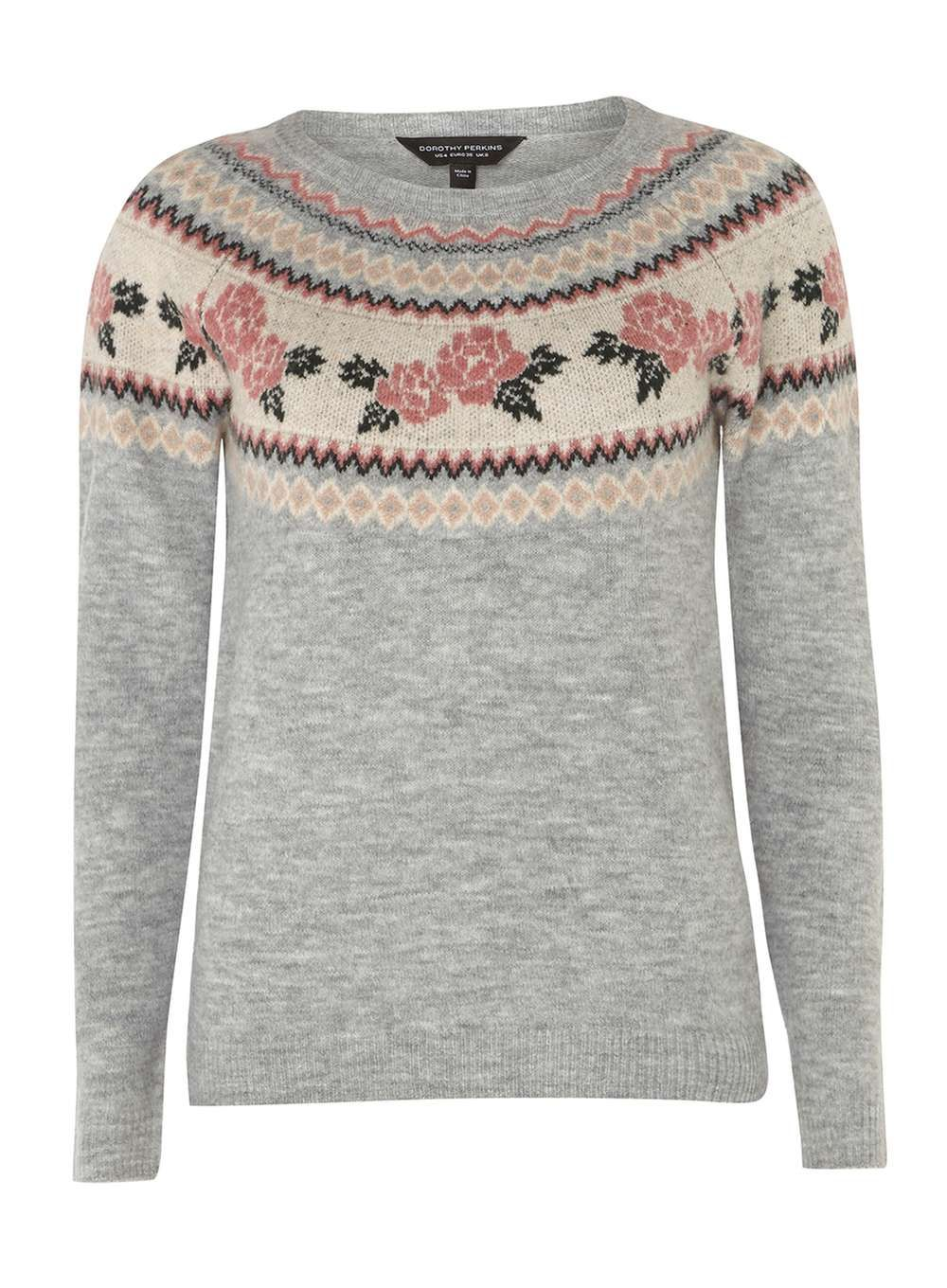 Shopping Online Clearance Clearance 100% Guaranteed Dorothy Perkins Womens Floral Fair Isle Jumper- Latest Cheap Online 6DLsG