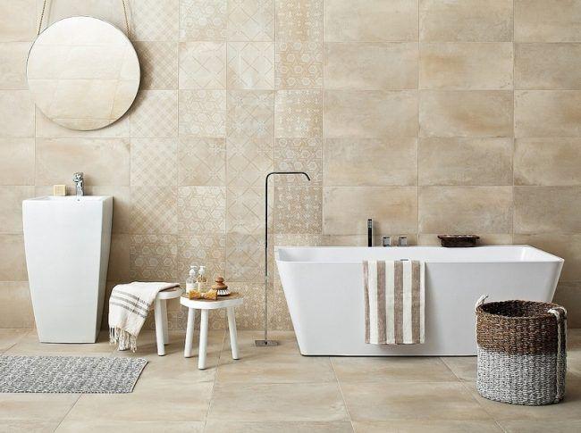 Badezimmer Beige Gestalten Fliesen Wandmuster Modern