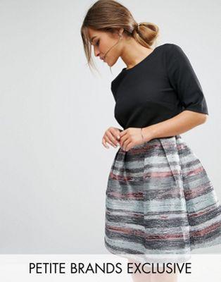 Little Mistress Petite 2 In 1 Skater Dress With Jacquard Skirt