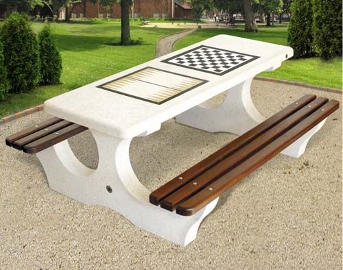 Attractive Concrete Outdoor Chess And Backgammon Table With Benches