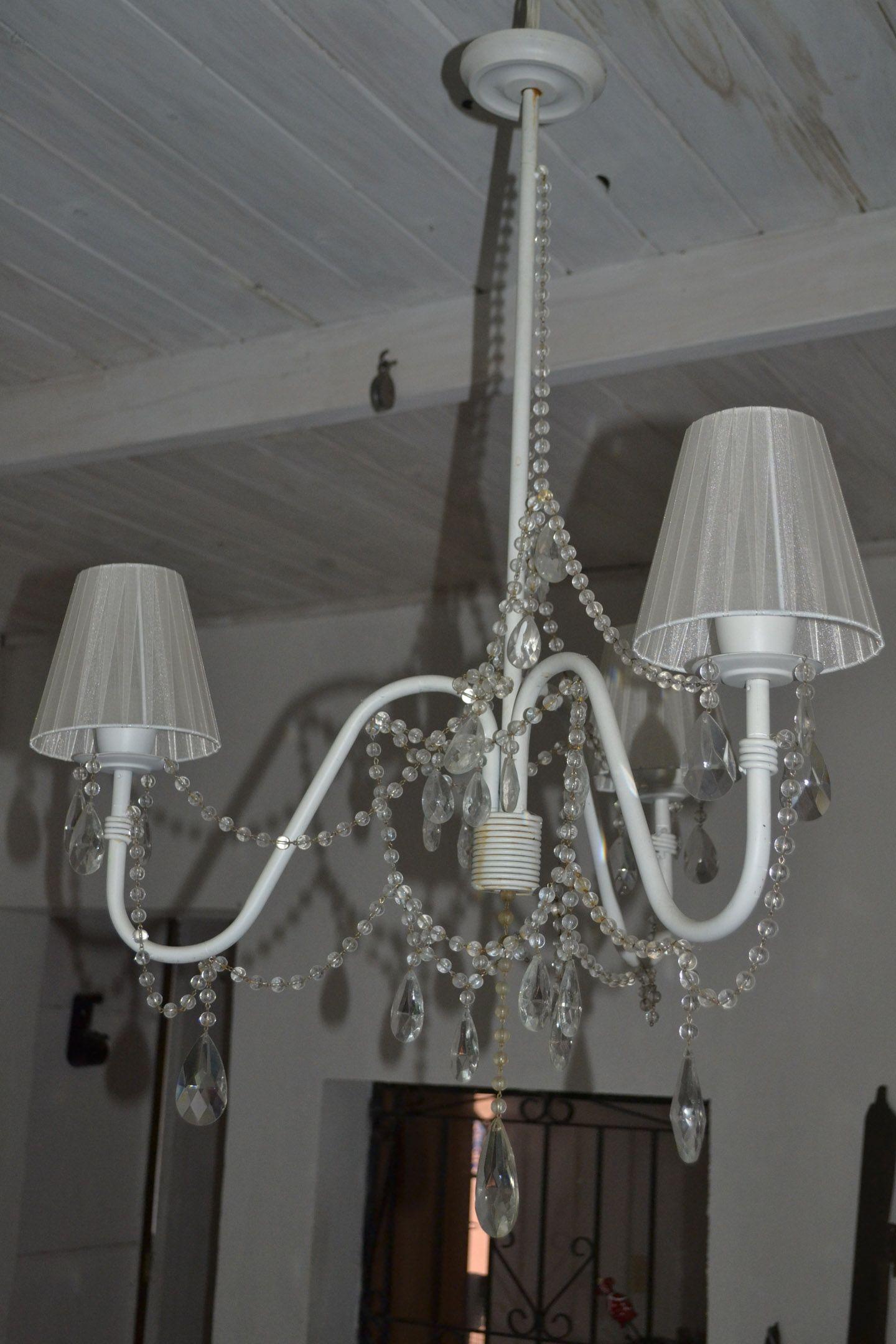 Ara a de hierro con pantallas de tela caireles de vidrio x 3 luces 750 ver combo aplique - Lamparas de arana de cristal ...