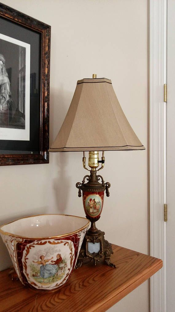 d6181c842db Gorgeous Porcelain Lamp - Vintage Lamps - Made in Italy - Claw Feet -  Courting Couple - Romantic Decor - Red and Gold - Antique