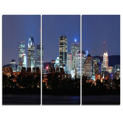 DesignArt Montreal Over River at Dusk - 3 Piece Graphic Art on Wrapped Canvas Set
