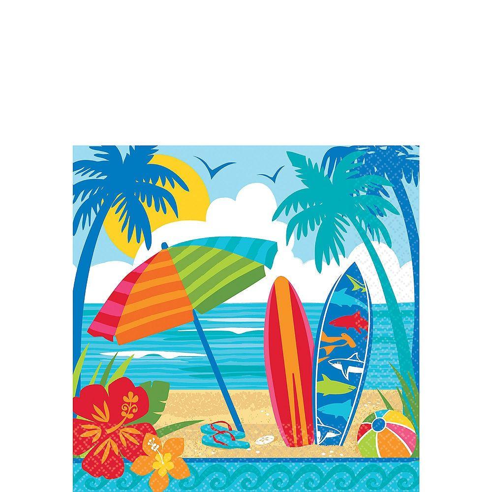 Sun Surf Beach Beverage Napkins 36ct Summer Tableware Beach