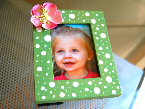 Sweet Pea Petite 2.5 x 3.5 Green Polka Dot Pink by BubbaAndLucy