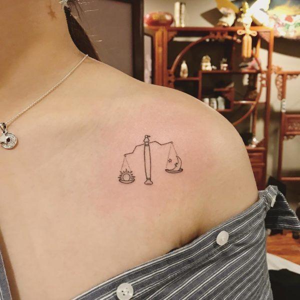 Photo of Libra Sun and Moon Scale Collarbone Tattoo – tattooness