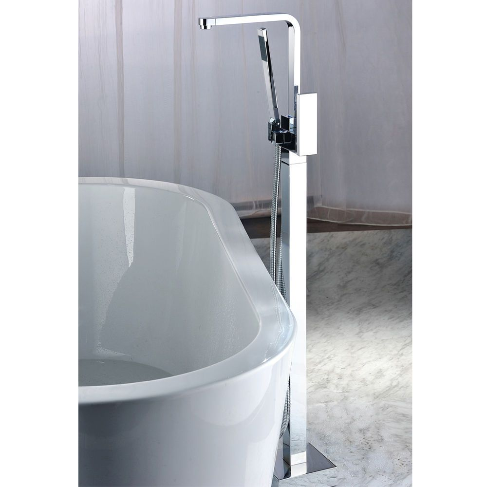 Floor Mount Free Standing Bathtub Faucet Tub Filler With Hand Shower Mixer Tap