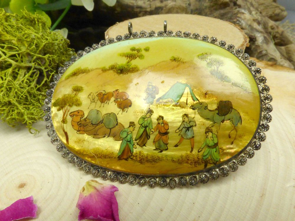 Vintage Hand Painted Persian Mother of Pearl & Silver Pendant; Shepherd Themed! #Unbranded