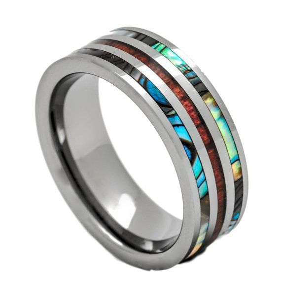 Tungsten Ring with Inlay Hawaiian Koa Wood and by PCHJewelers