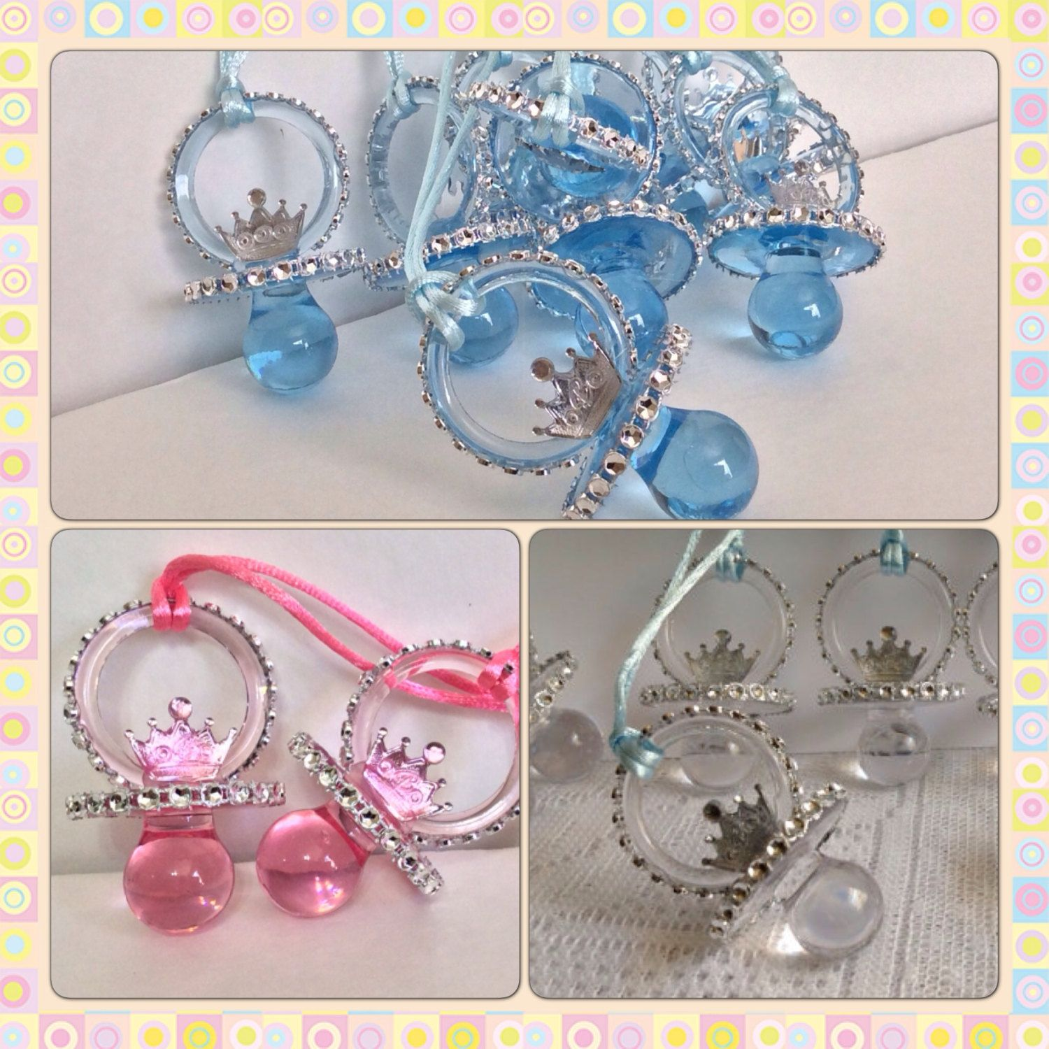 Baby Shower Favors For Princess Theme ~ Little prince and princess baby shower pacifiers