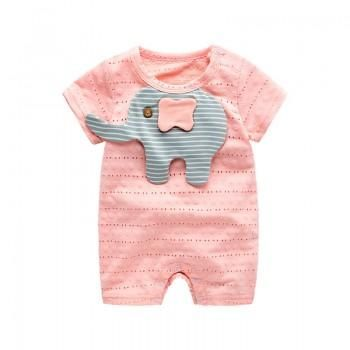 Cute Little Elephant Graphic Cut Out Short-Sleeve One Romper for Baby Girls