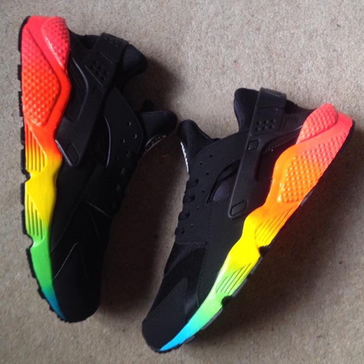 RARE* Nike Air Huarache Black/Rainbow