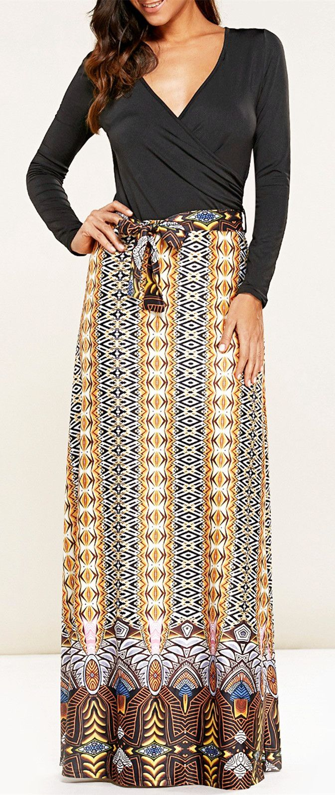 Long sleeve print belted maxi dress pinterest maxi dresses