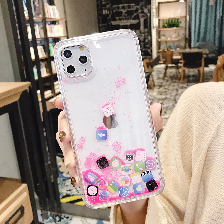 2020 的 App Icon Glitter Dynamic Quicksand Silicone Case
