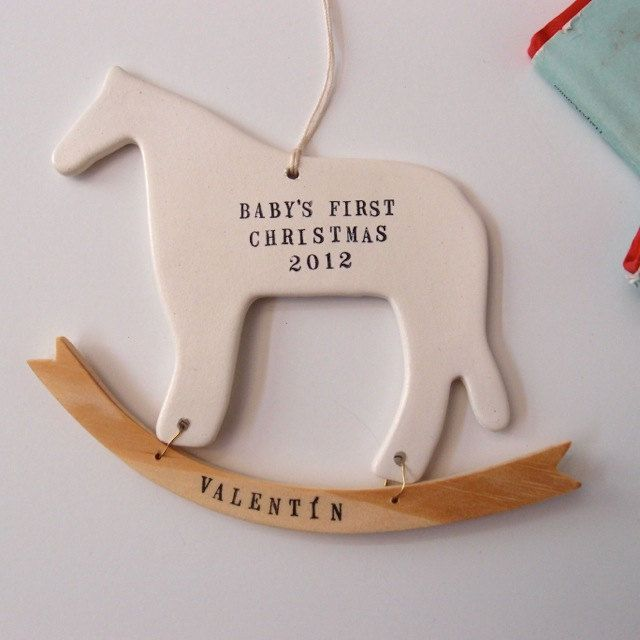babys first christmas ornament rocking horse dala decoration