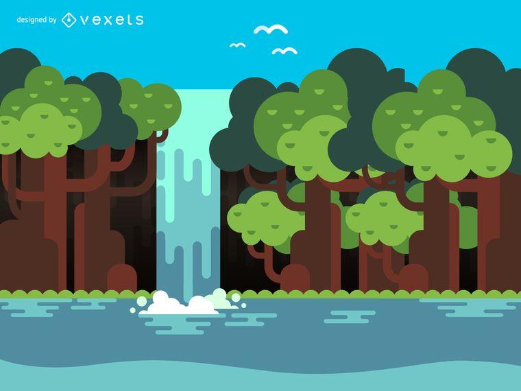Flat Cascada Y Arboles Ilustracion Diseno De Ilustracion Ilustracion Diseno Grafico Plano Diseno Grafico Retro