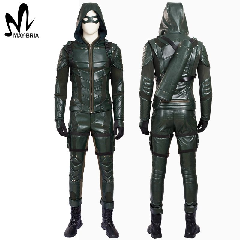 2016 Green Arrow Season 4 Oliver Queen Cosplay Costume PU Leather Outfit /& Props