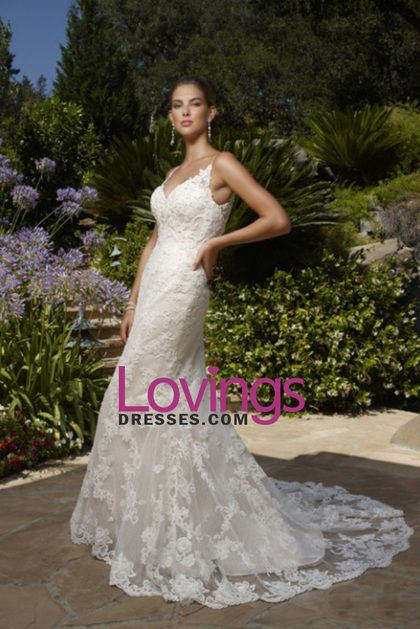 2016 Spaghetti Straps Open Back Mermaid Tulle With Applique Wedding Dresses