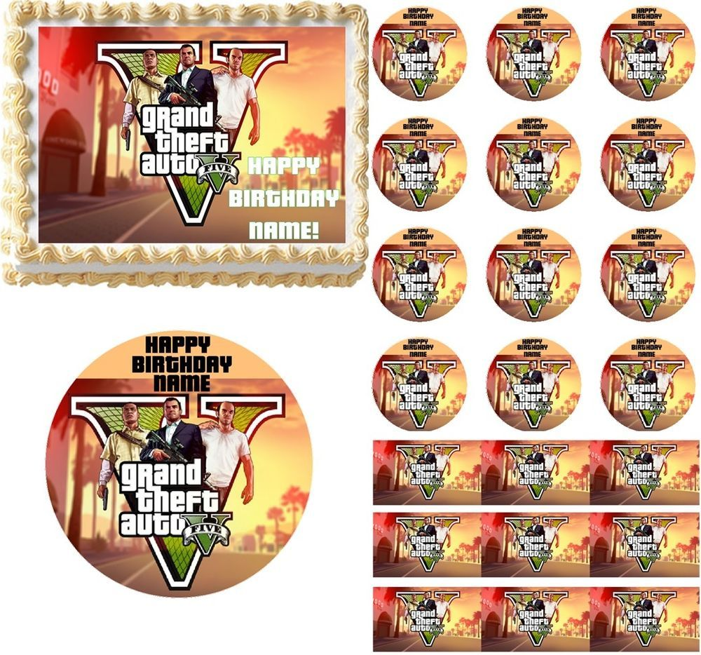Grand Theft Auto V Gta 5 Edible Cake Topper Image Cupcakes Edible