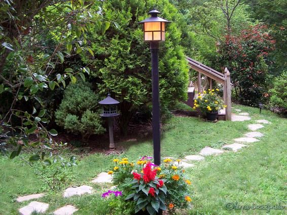 Landscape Around Lamp Post Front Yards