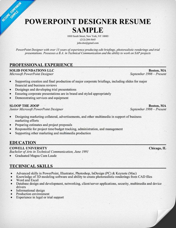 powerpoint  designer resume sample  resumecompanion com